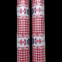 Plakfolie bloemen retro rood wit blauw