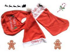 Kerst-set baby outfit met muts slab en sok