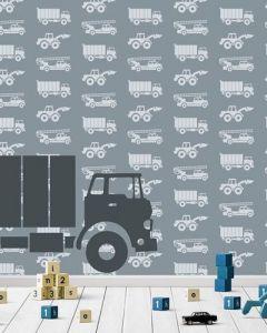 Behang paneel met vrachtauto en auto's grijs