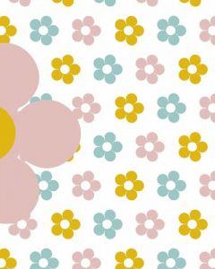 Behang paneel retro bloemetjes geel roze