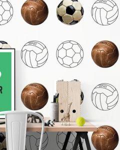 Voetbalbehang vintage wit