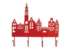 Kapstok metaal huisjes Amsterdam rood of groen