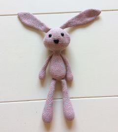 Knuffel konijn gehaakt roze grijs
