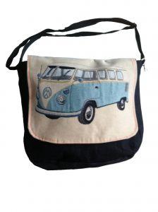 Luiertas met retro bus retro licht-blauw groot