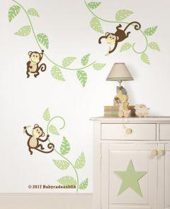 Muursticker aapjes babykamer
