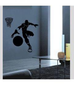 Muursticker met basketbal speler velours Ribount 2