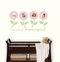 Muursticker fotolijst babykamer meisjes bloemen fotolijst