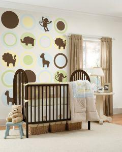 Muursticker babykamer dieren jungle bruin