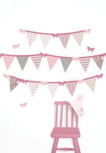Muursticker meisjeskamer set met vlaggen roze