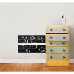 Muursticker schoolbord om letters mee te leren