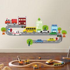 Muursticker verkeer met auto's en weg
