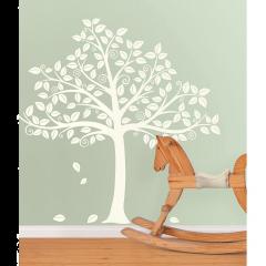 Muursticker babykamer boom met silhouet wit