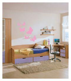 Muursticker met vlinders velours roze