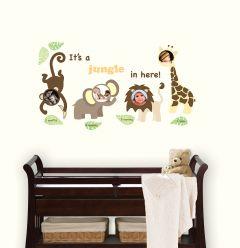 Muursticker fotolijst babykamer set met jungle dieren en fotolijst
