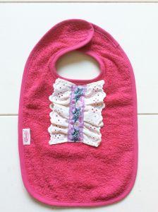 Slab baby roze badstof bloemen kant