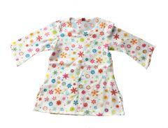 Tuniek jurkje wit met bloemetjes maat 92-98