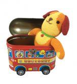 Babycadeau blik autobus met knuffel hond