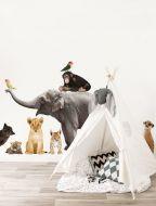 Muursticker set Safari Friends Set Olifant Xl met 9 dieren babykamer