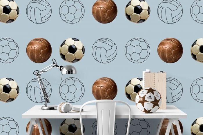 Behang Kinderkamer Voetbal : Behang vintage voetbal blauw grijs jongenskamer babycadeaublik