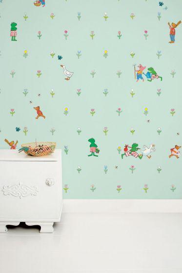 Babykamer Groen Blauw.Behang Babykamer Kikker Groen