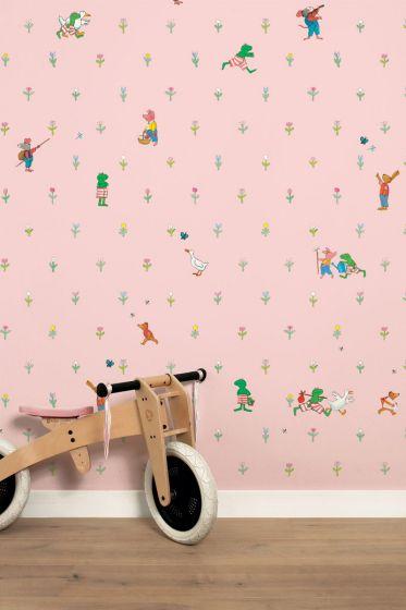 Behang Kinderkamer Roze.Behang Babykamer Kikker Roze