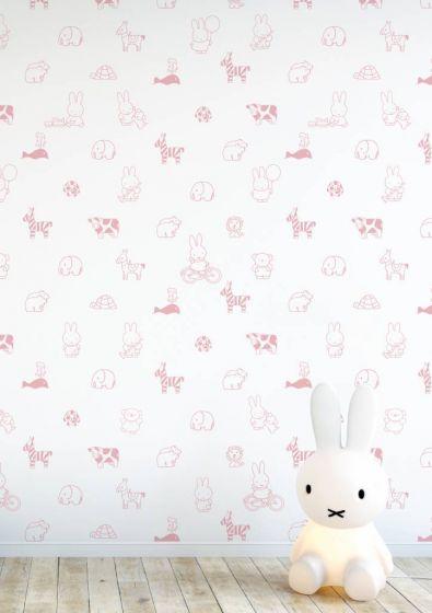 Behang Kinderkamer Roze.Behang Nijntje Babykamer Animals Dieren