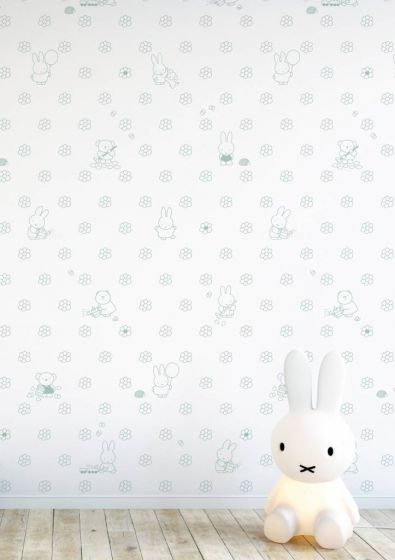 Bedwelming Behang Nijntje Flowers bloemen babykamer roze grijs baluw groen @LH58