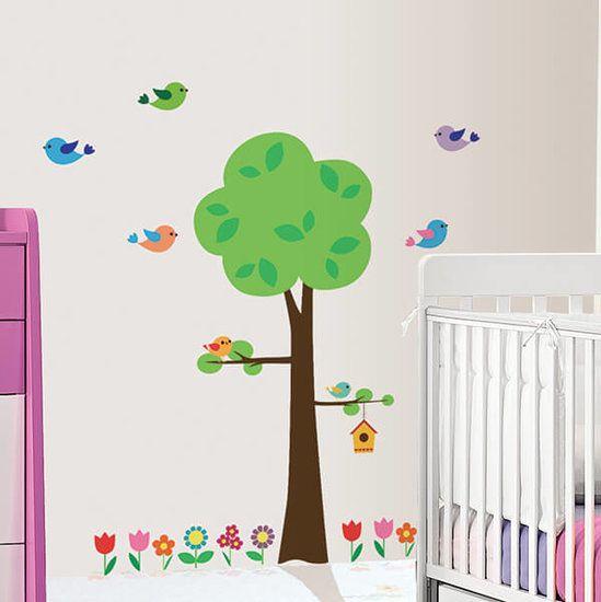Boom Voor Babykamer.Muursticker Boom Vogels Babykamer Bloemetjes Bloemen Kinderkamer