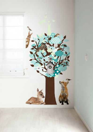 Sticker Boom Babykamer.Muursticker Boom Turquoise Glow In The Dark Kinderkamer Babykamer