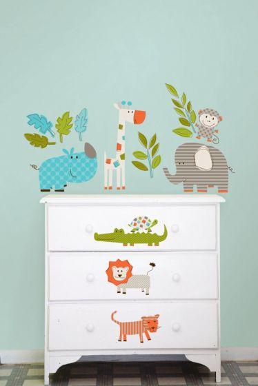 Dieren Stickers Muur.Muursticker Dieren Safari Babykamer Jongens Meisjes Kinderkamer