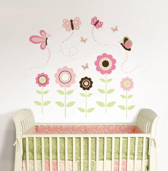 Muurdecoratie Babykamer Meisje.Muursticker Babykamer Set Met Vlinders Babykamer Meisje Roze