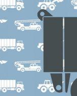 Behang paneel vrachtwagen met auto's blauw