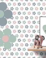 Behang paneel retro bloemetjes roze grijs