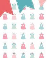 Behang paneel retro jurkjes met vlaggetjeslijn roze groen