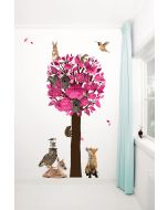 Muursticker boom Forest Friends XL roze