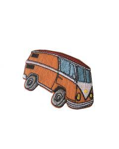 Strijk-applicatie met retro Volkswagenbus oranje