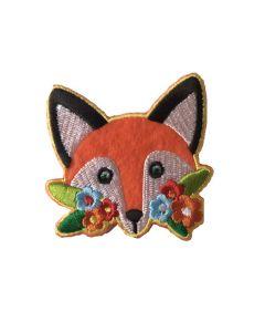 Strijk-applicatie met vos en bloemen
