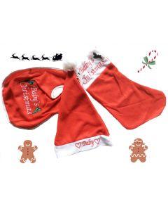 Kerst set baby's 1e Kerst met slab, kerstmuts en sok
