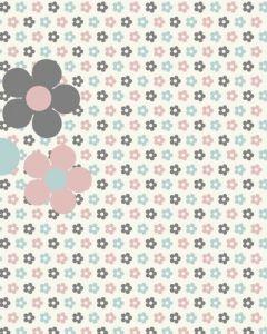 Behang paneel retro bloemetjes blauw roze