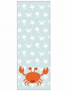 Behangpaneel met zeedieren krab blauw