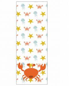 Behang paneel met zeedieren krab geel oranje