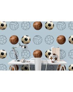 Behang vintage voetbal blauw grijs
