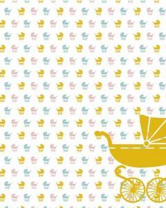 Behang paneel kinderwagen geel roze