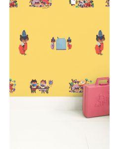 Behang met bezige beertjes Fiep Westerdorp geel
