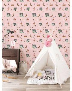 Behang bosdieren van Fiep Westendorp roze