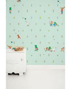 Behang babykamer kikker groen