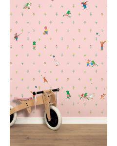 Behang babykamer kikker roze