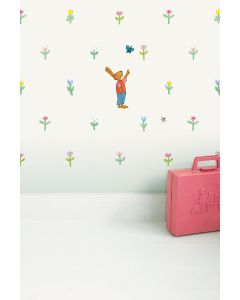Behang babykamer kikker wit