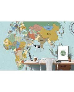 Behang wereldkaart vintage XL