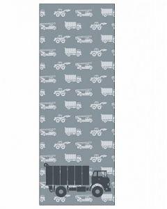 Behangpaneel met vrachtauto en auto's grijs